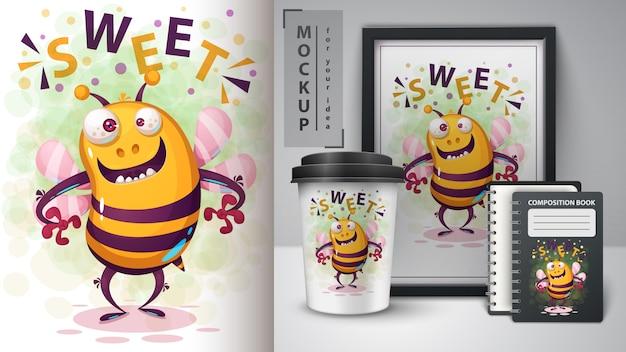 Verrückte biene und merchandising