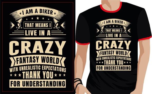 Verrückte biker typografie t-shirt design