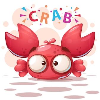 Verrückte krabbe - nette karikaturillustration