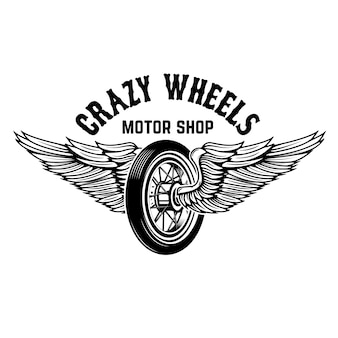 Verrückte räder. motorradrad mit flügeln auf weißem hintergrund. elemente für logo, etikett, emblem, zeichen. illustration