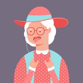 Verrückte und lustige alte dame. charakter der älteren frau des vektorkarikaturas lokalisiert auf hintergrund.