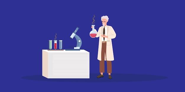 Verrückter alter wissenschaftler. verrückter doktor. karikaturvektorillustration