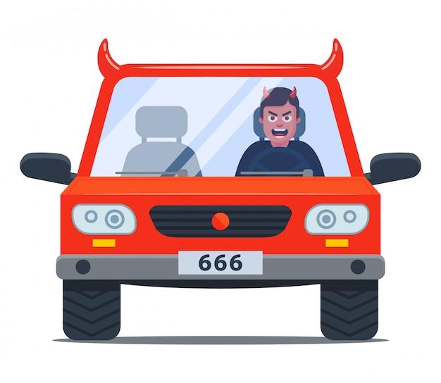 Verrückter fahrer in einem verdammten auto. aggressives fahren. flache zeichenillustration
