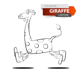 Verrückter giraffe springen auf den weißen hintergrund.