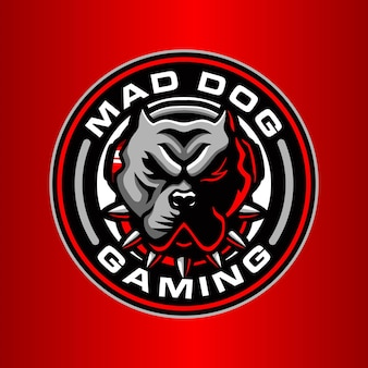 Verrückter hund logo-vorlage
