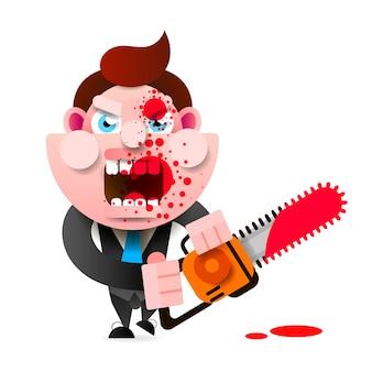 Verrückter mörder mit einer kettensäge im blut bedeckt happy halloween. design für t-shirts und andere artikel.