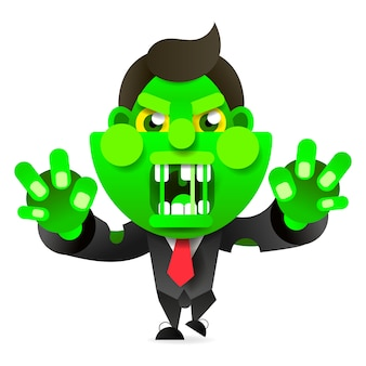 Verrückter zombie rennt nach dem opfer