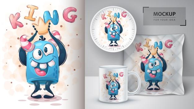 Verrücktes monster - plakat und merchandising
