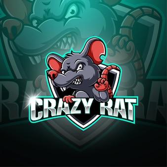 Verrücktes ratten-esport-maskottchen-logo