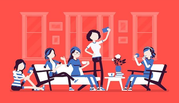 Versammlung von frauen für ihre party oder lustige illustration