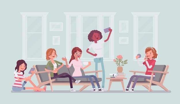 Versammlung von frauen für junggesellenabschied oder lustige illustration