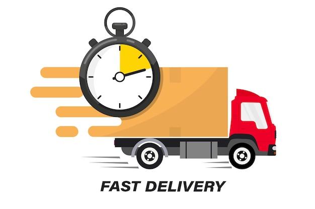 Versand schneller lieferwagen mit uhr. online-lieferservice. expresslieferung, schneller umzug. schneller versandwagen für apps und websites. linienfrachter, der sich schnell bewegt. chronometer, schneller service 24/7