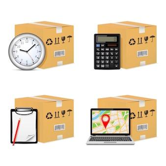 Versand von pappkartons mit uhr, taschenrechner, zwischenablage und gps-karte auf dem laptop-bildschirm