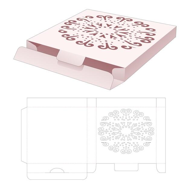 Versandkarton aus blech mit schablonen-mandala-stanzschablone