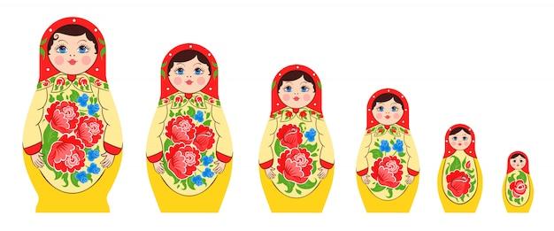 Verschachtelter russischer puppensatz