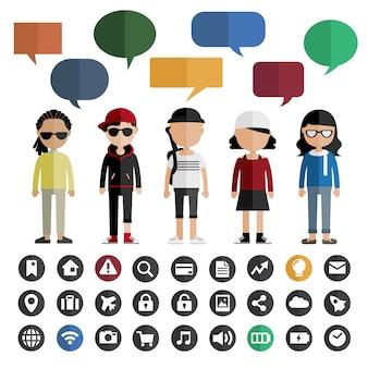 Verschiedenartigkeits-gemeinschaftsleute-flaches design-ikonen-konzept