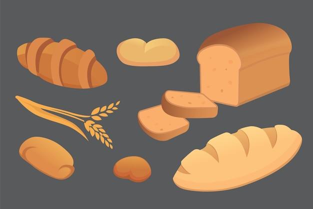 Verschiedene abbildungen von broten und backwaren. brötchen zum frühstück. set backen essen isoliert