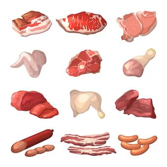 Verschiedene abbildungen von fleisch.