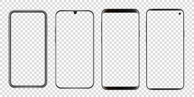 Verschiedene abstrakte moderne smartphones transparent.