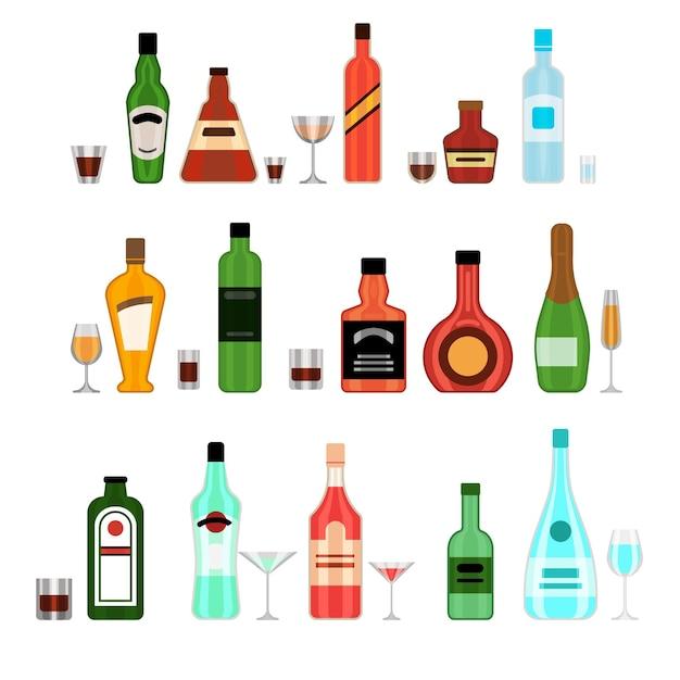 Verschiedene alkoholflaschen mit brillenkarikatur-illustrationssatz