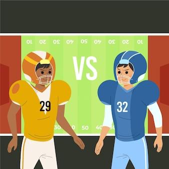 Verschiedene american-football-spieler vor dem feld