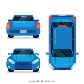 Verschiedene ansichten des blauen autos