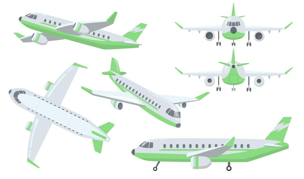 Verschiedene ansichten des flugzeugsatzes
