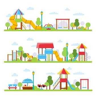 Verschiedene ansichten des kinderspielplatzes im stadtpark