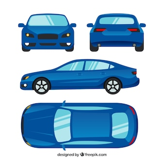 Verschiedene ansichten des modernen blauen autos