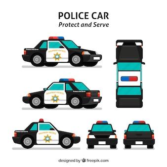 Verschiedene ansichten des polizeiautos