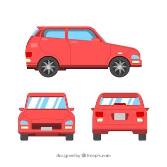 Verschiedene ansichten von flachen roten auto