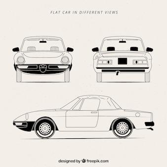 Verschiedene ansichten von schwarz-weiß-auto