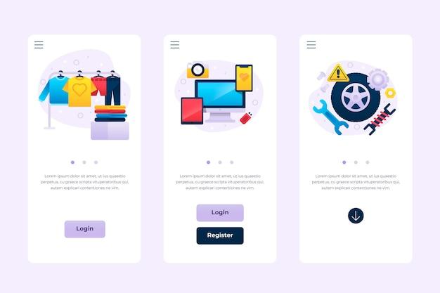Verschiedene app-schnittstellenkonzepte