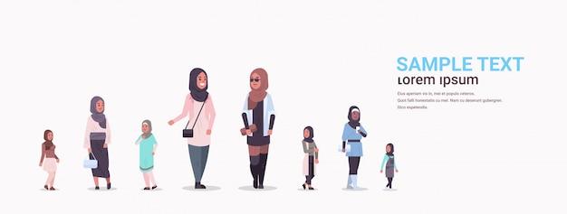 Verschiedene arabische frauengruppe, die zusammen arabische geschäftsfrauen stehen, die traditionelle kleidung weiblicher arabischer zeichentrickfiguren tragen
