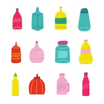 Verschiedene art von flaschenküchen-doodle-stil