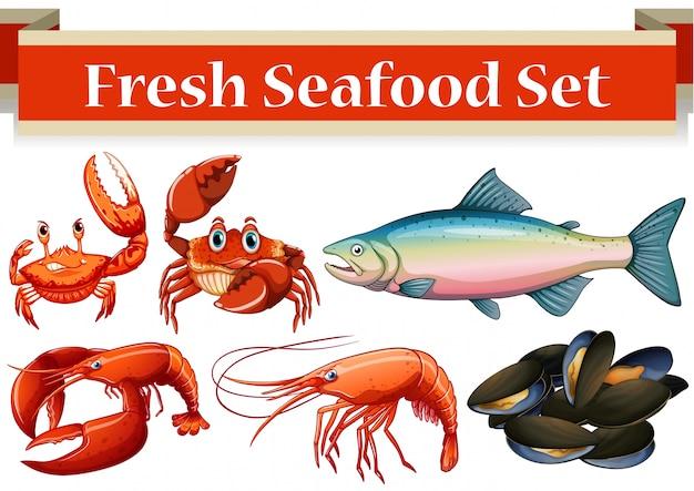 Verschiedene art von frischen meeresfrüchten illustration