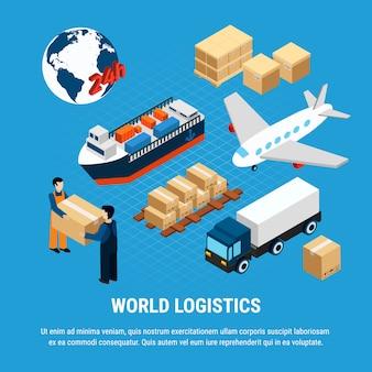 Verschiedene arten des logistikgüterverkehrs und des zustelldienstarbeitskraftsatzes lokalisiert auf blauer isometrischer illustration 3d