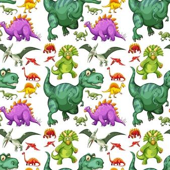 Verschiedene arten des nahtlosen musters des dinosauriers