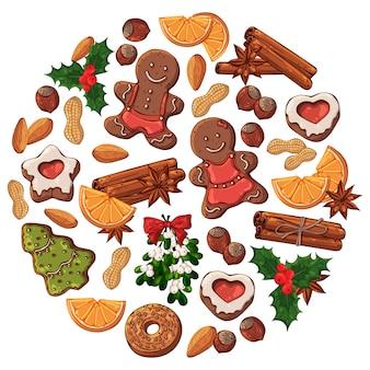 Verschiedene arten des vektors weihnachtssüßigkeiten
