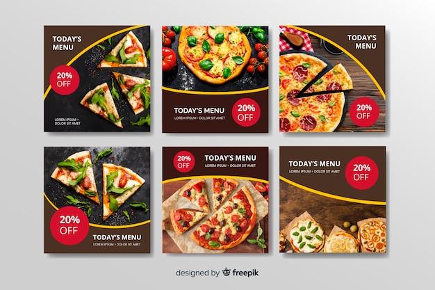 Verschiedene arten instagram beitragssammlung der pizza