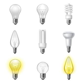 Verschiedene arten realistische glühbirnen gesetzt