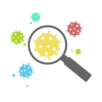 Verschiedene arten von coronavirus-stämmen unter einer lupe. studie im labor, ansteckung neuer viren und maßnahmen dagegen.