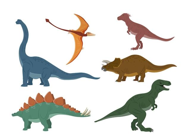 Verschiedene arten von dinosauriern auf weiß isoliert
