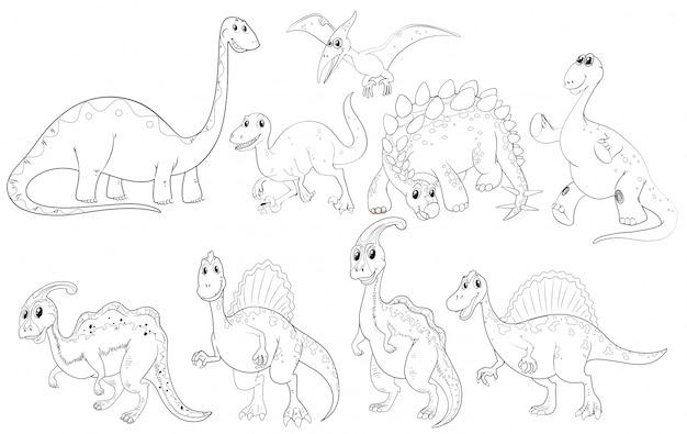 Verschiedene arten von dinosauriern