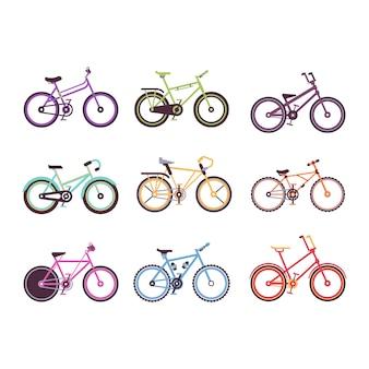 Verschiedene arten von fahrrädern, bunte fahrräder für männer, frauen und kinder illustrationen