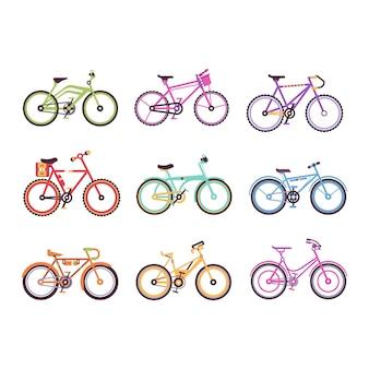 Verschiedene arten von fahrrädern für männer, frauen und kinder eingestellt, bunte fahrräder mit verschiedenen rahmentypen abbildungen