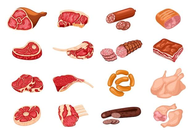 Verschiedene arten von fleischprodukten eingestellt. steak huhn, wurst und speck, produktbestandteil illustration