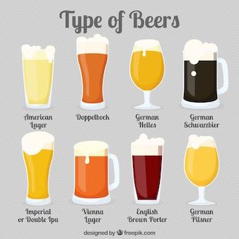 Verschiedene arten von gläsern mit bier