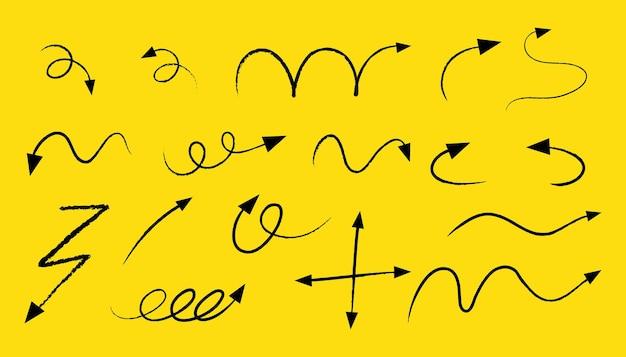 Verschiedene arten von hand gezeichneten gekrümmten pfeilen auf gelbem hintergrund