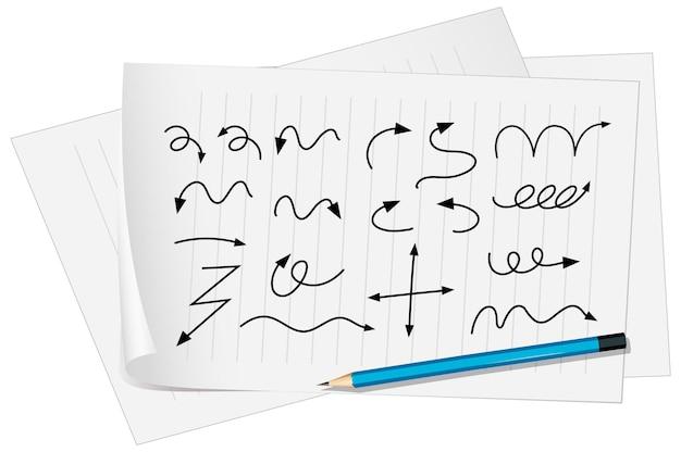 Verschiedene arten von handgezeichneten gebogenen pfeilen auf papier